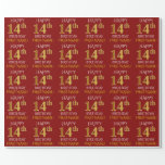 """[ Thumbnail: Red, Faux Gold """"Happy 14th Birthday"""" Wrapping Paper ]"""
