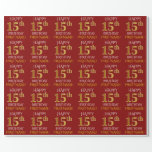 """[ Thumbnail: Red, Faux Gold """"Happy 15th Birthday"""" Wrapping Paper ]"""