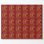 """[ Thumbnail: Red, Faux Gold """"Happy 16th Birthday"""" Wrapping Paper ]"""