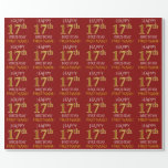 """[ Thumbnail: Red, Faux Gold """"Happy 17th Birthday"""" Wrapping Paper ]"""