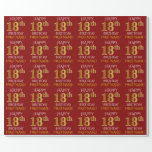 """[ Thumbnail: Red, Faux Gold """"Happy 18th Birthday"""" Wrapping Paper ]"""