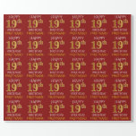 """[ Thumbnail: Red, Faux Gold """"Happy 19th Birthday"""" Wrapping Paper ]"""
