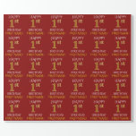 """[ Thumbnail: Red, Faux Gold """"Happy 1st Birthday"""" Wrapping Paper ]"""