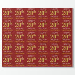 "[ Thumbnail: Red, Faux Gold ""Happy 20th Birthday"" Wrapping Paper ]"