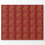 "[ Thumbnail: Red, Faux Gold ""Happy 21st Birthday"" Wrapping Paper ]"