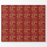 "[ Thumbnail: Red, Faux Gold ""Happy 22nd Birthday"" Wrapping Paper ]"