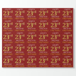 "[ Thumbnail: Red, Faux Gold ""Happy 23rd Birthday"" Wrapping Paper ]"