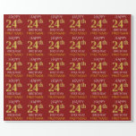 "[ Thumbnail: Red, Faux Gold ""Happy 24th Birthday"" Wrapping Paper ]"