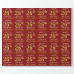 "[ Thumbnail: Red, Faux Gold ""Happy 26th Birthday"" Wrapping Paper ]"