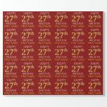 "[ Thumbnail: Red, Faux Gold ""Happy 27th Birthday"" Wrapping Paper ]"