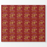 "[ Thumbnail: Red, Faux Gold ""Happy 28th Birthday"" Wrapping Paper ]"