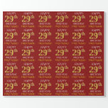 "[ Thumbnail: Red, Faux Gold ""Happy 29th Birthday"" Wrapping Paper ]"
