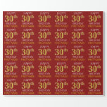"[ Thumbnail: Red, Faux Gold ""Happy 30th Birthday"" Wrapping Paper ]"