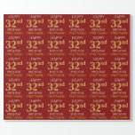 "[ Thumbnail: Red, Faux Gold ""Happy 32nd Birthday"" Wrapping Paper ]"