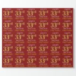 "[ Thumbnail: Red, Faux Gold ""Happy 33rd Birthday"" Wrapping Paper ]"
