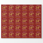 "[ Thumbnail: Red, Faux Gold ""Happy 34th Birthday"" Wrapping Paper ]"