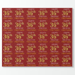 "[ Thumbnail: Red, Faux Gold ""Happy 36th Birthday"" Wrapping Paper ]"