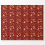 "[ Thumbnail: Red, Faux Gold ""Happy 37th Birthday"" Wrapping Paper ]"