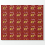 "[ Thumbnail: Red, Faux Gold ""Happy 38th Birthday"" Wrapping Paper ]"