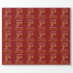 """[ Thumbnail: Red, Faux Gold """"Happy 3rd Birthday"""" Wrapping Paper ]"""