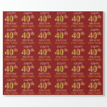 "[ Thumbnail: Red, Faux Gold ""Happy 40th Birthday"" Wrapping Paper ]"