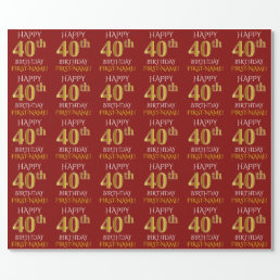 """Red, Faux Gold """"HAPPY 40th BIRTHDAY"""" Wrapping Paper"""