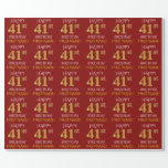 "[ Thumbnail: Red, Faux Gold ""Happy 41st Birthday"" Wrapping Paper ]"