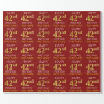"[ Thumbnail: Red, Faux Gold ""Happy 42nd Birthday"" Wrapping Paper ]"