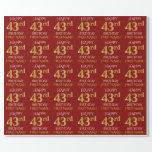 "[ Thumbnail: Red, Faux Gold ""Happy 43rd Birthday"" Wrapping Paper ]"