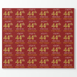 "[ Thumbnail: Red, Faux Gold ""Happy 44th Birthday"" Wrapping Paper ]"