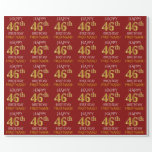 "[ Thumbnail: Red, Faux Gold ""Happy 46th Birthday"" Wrapping Paper ]"