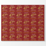 "[ Thumbnail: Red, Faux Gold ""Happy 47th Birthday"" Wrapping Paper ]"