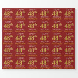 "[ Thumbnail: Red, Faux Gold ""Happy 48th Birthday"" Wrapping Paper ]"