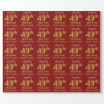 "[ Thumbnail: Red, Faux Gold ""Happy 49th Birthday"" Wrapping Paper ]"