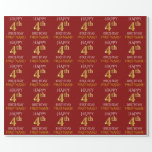 """[ Thumbnail: Red, Faux Gold """"Happy 4th Birthday"""" Wrapping Paper ]"""