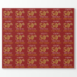 "[ Thumbnail: Red, Faux Gold ""Happy 50th Birthday"" Wrapping Paper ]"