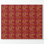 "[ Thumbnail: Red, Faux Gold ""Happy 52nd Birthday"" Wrapping Paper ]"