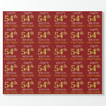 "[ Thumbnail: Red, Faux Gold ""Happy 54th Birthday"" Wrapping Paper ]"