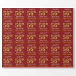 "[ Thumbnail: Red, Faux Gold ""Happy 56th Birthday"" Wrapping Paper ]"