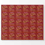 "[ Thumbnail: Red, Faux Gold ""Happy 57th Birthday"" Wrapping Paper ]"