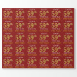"[ Thumbnail: Red, Faux Gold ""Happy 59th Birthday"" Wrapping Paper ]"