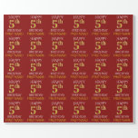 """[ Thumbnail: Red, Faux Gold """"Happy 5th Birthday"""" Wrapping Paper ]"""