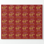 "[ Thumbnail: Red, Faux Gold ""Happy 60th Birthday"" Wrapping Paper ]"