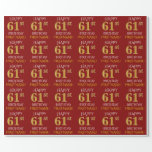 "[ Thumbnail: Red, Faux Gold ""Happy 61st Birthday"" Wrapping Paper ]"