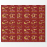 "[ Thumbnail: Red, Faux Gold ""Happy 62nd Birthday"" Wrapping Paper ]"
