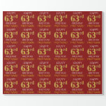 "[ Thumbnail: Red, Faux Gold ""Happy 63rd Birthday"" Wrapping Paper ]"