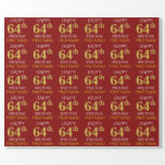 "[ Thumbnail: Red, Faux Gold ""Happy 64th Birthday"" Wrapping Paper ]"