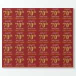 "[ Thumbnail: Red, Faux Gold ""Happy 70th Birthday"" Wrapping Paper ]"