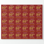 "[ Thumbnail: Red, Faux Gold ""Happy 80th Birthday"" Wrapping Paper ]"