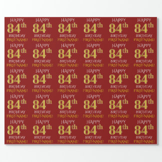 "Red, Faux Gold ""HAPPY 84th BIRTHDAY"" Wrapping Paper"